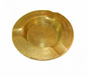 Cendrier publicitaire en métal doré
